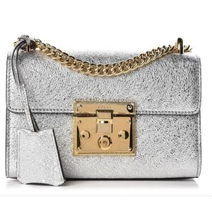 GUCCI silver/gold metallic laminate padlock bag